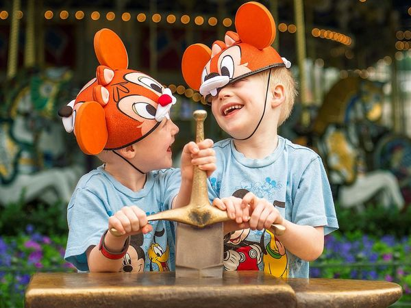 Two Boys At Disney Wearing Hat Pulling Sword