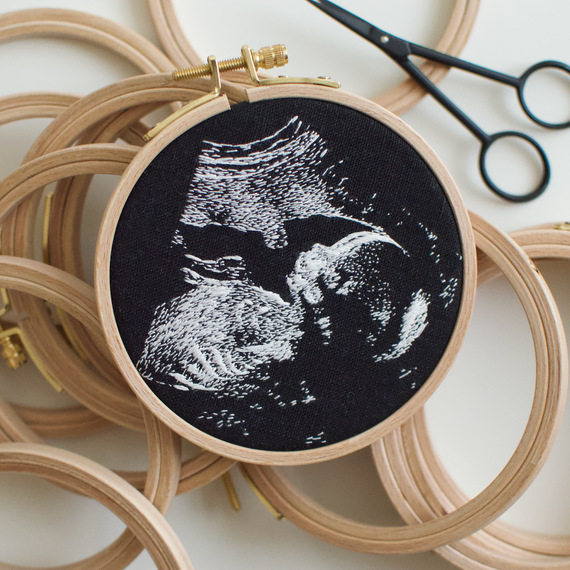 Embroidered Sonogram Photo in a Hoop 2